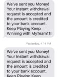 MyTeam11 Withdraw proof SMS Screenshot